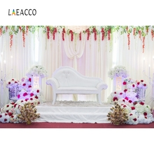 Laeacco Curtain Flower Armchair Wedding Romantic Photography Background Customized Photographic Backdrops for Photo Studio 100% hand painted pro dyed muslin backdrops for photography studio customized photographic background wedding backdrops 10x10ft