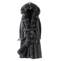 Real Fur Parka Women Winter Double faced Wool Coat Female 2019 New Womens Natural Fox Fur Collar Rex Rabbit Liner Long Jacket