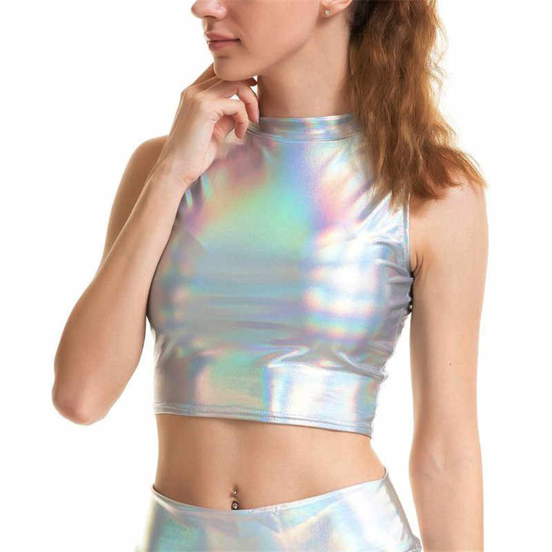 260d3def05 ... 2019 New Glitter Holographic Silver Multi Styles Tank Tops Strapless  Tube Top Turtleneck Crop Top Strap