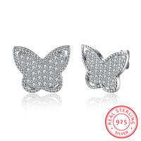 925 Sterling Silver Butterfly Shaped Zircon Earring Trendy Womens Fashion Earrings Wholesale Jewelry Accessories Claires Pending
