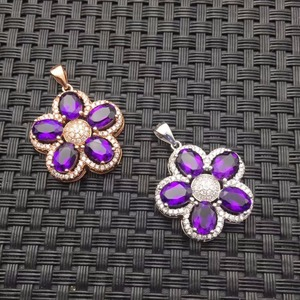 Image 3 - Natural Amethyst Necklace wholesale flower shape 925 silver making two color selection mail