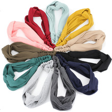 Wide Hairband Elastic Knitted Cotton
