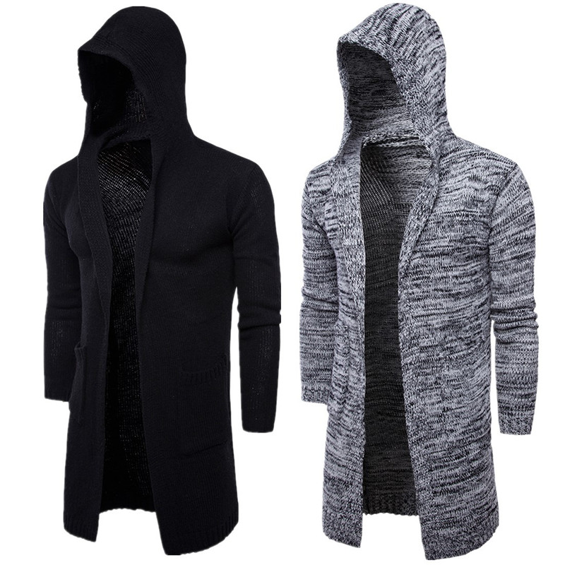 2020 Autumn Winter Solid Casual Cardigan Men Sweaters Long Sleeve O-neck Hooded Knitted Hot Sale Men's Cardigans