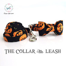 Pumpkin Collar and Leash Set With Bow Tie