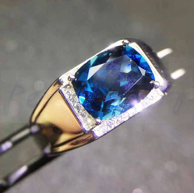 571e9f476 Men rings Free shipping Blue topaz ring Natural and real london blue topaz  925 sterling silver 4ct gemstone #J18041504