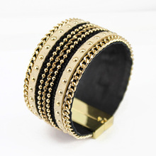 New 2016 Bracelets for Women Fashion Jewelry Leather Bracelet Gold Chain Magnetic Clasp