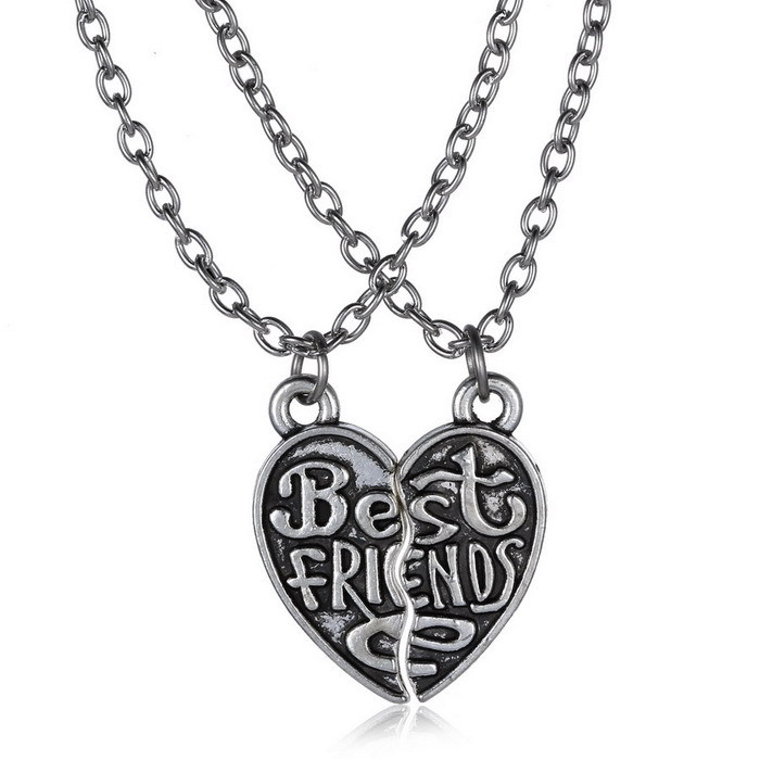c5740becf044a US $1.19 30% OFF|Broken Heart pendant stainless steel Engraved best friends  pendant necklace for women men brother sister party gift-in Pendant ...