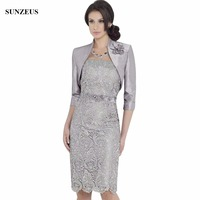 Sheath Knee Length Lace Mother Of the Bride Dresses With Jacket High Neck Elegant Grey Party Gowns Lady M070