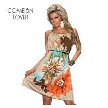 RI7971 Comeonlover Cheap Clothes Ladies Dress With Belt Elegant Women Dress Summer Fashion Super Deal Flower Print Beach Dress