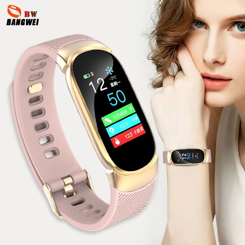 Schlussverkauf Smart Watch Frauen 2019 Neue Marke Bangwei Gesunde Herz-monitor-sport Modus Smart Watch Wasserdichte Uhr Relogio Feminino Damenuhren Box