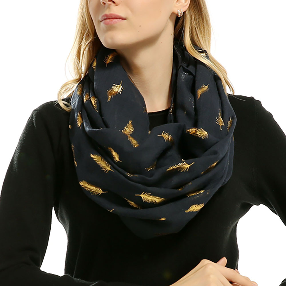 winter Lady Women Soft   Scarf   Bronzing Feather Print Neck Scarfs   Wrap     Scarves   Muffler Adult White Pink Navy Cotton