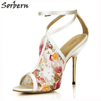 Sorbern Gold Metal Heels Women Sandals Shoes Lace Satin Ladies Party Shoes Buckle Strap Peep Toe