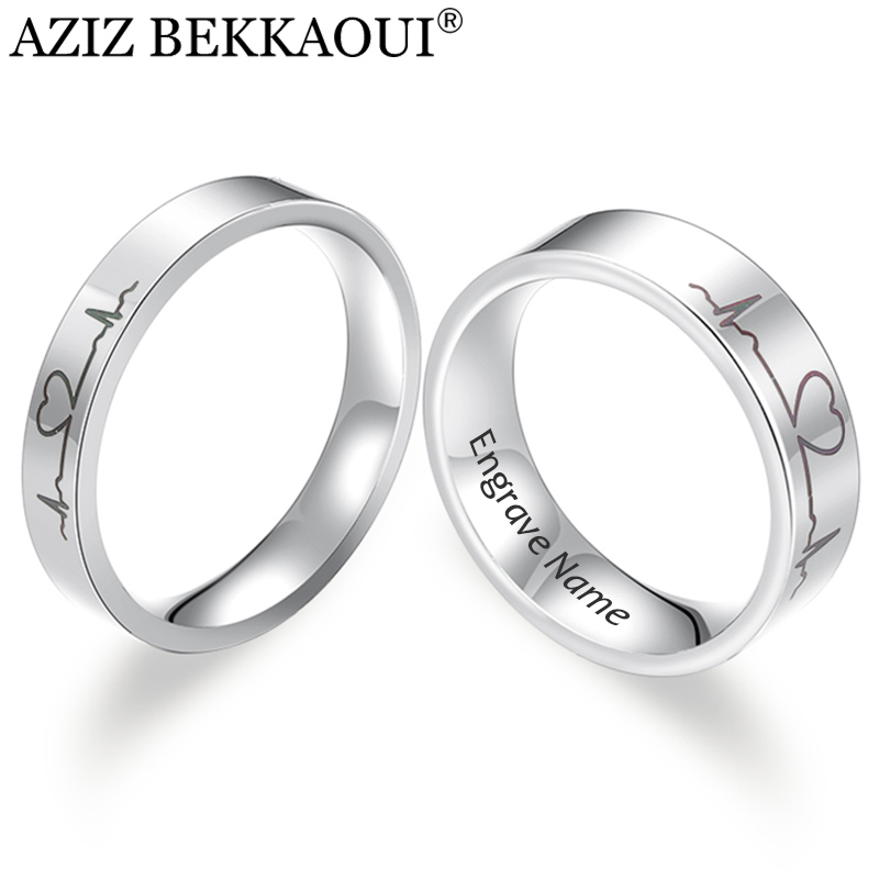 AZIZ BEKKAOUI Engrave Name Couple Rings Stainless Steel Comfort Fit Ring Laser Engraved Heartbeat Medical Symbol Wedding Band