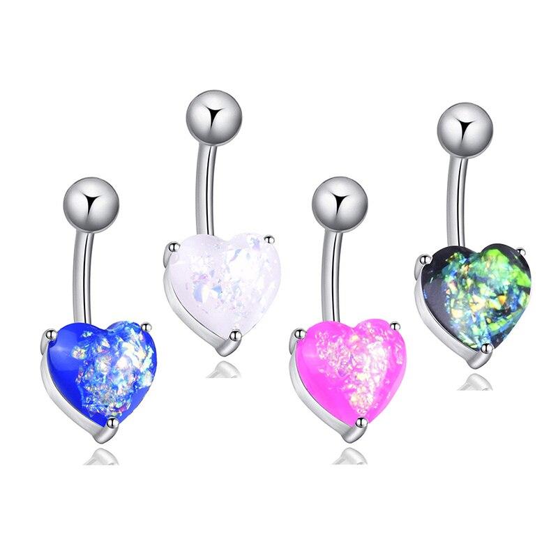 Praktisch Chirurgische Stahl Nabel Bauchnabel Ring Opal Glitter Herz Piercing Nabel Nagel Cx17 Kann Wiederholt Umgeformt Werden. Schuhe