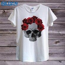 Summer Hipster Tops  MenS Make Fancy Skull Roses Short Sleeve Graphic O-Neck Tees