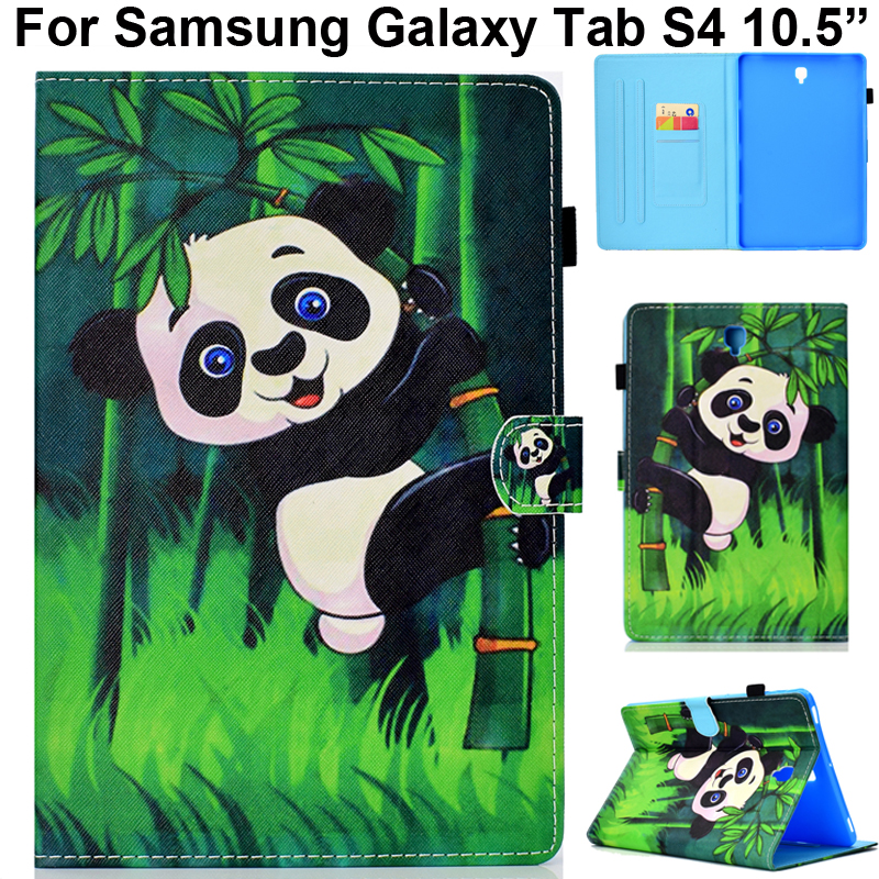 For Samsung Galaxy Tab S4 10.5 Anti Knock Case Cute Cover Panda Butterfly Cat Tree Bookshelf Printing Pouch Tabs4 10.5