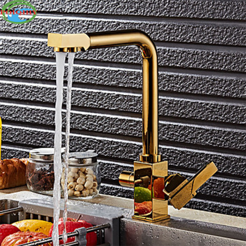 Luxurious Golden Brass Kitchen Hot and Cold Water Taps Two Handles Pull Down Kitchen Mixer Tap