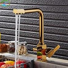 Роскошный Золотой Латунь Кухня горячей и холодной воды краны две ручки выдвижной Пух Кухня смесителя