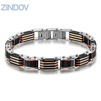 Classic Men Bracelets Bangles Stainless Steel Polished Rose Gold Plated Black Ceramic Male Fine Jewelry Wristband