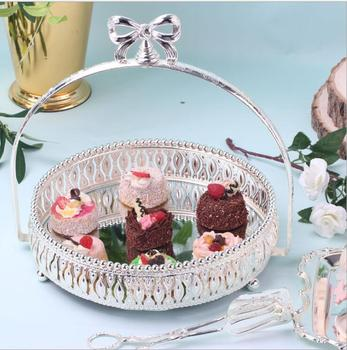 luxury Dia 27cm silver metal cake stand mirror tray cake decorating tray candy bar accesorios for wedding decoration DGP065