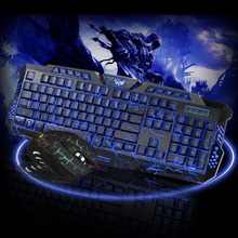 HXSJ J10 3-colors backlit wired gaming keyboard set Colorful glowing gaming mouse and keyboard combination package