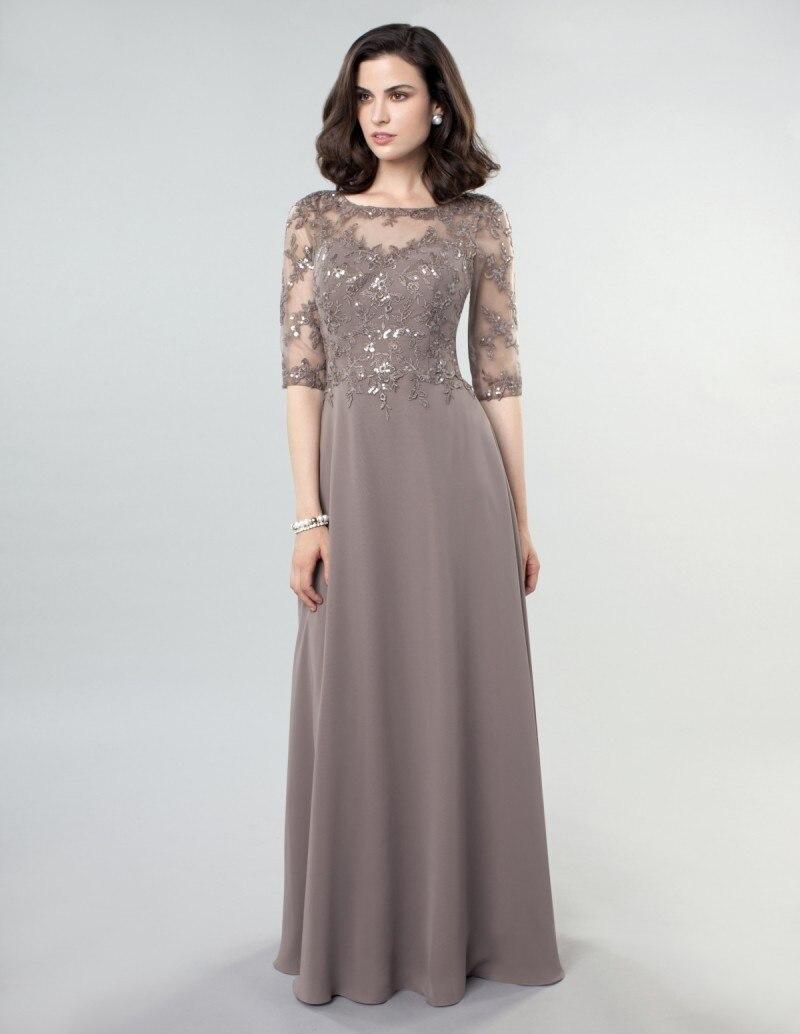 Винтаж шифон Половина рукава Кружева этаж Длина серый мать невесты платья 2016 вечернее платье Vestido de Madrinha