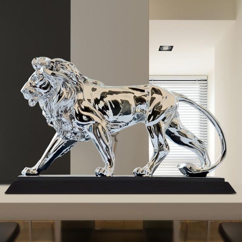 African Ferocious Lion Sculpture Statue Silver Domineering