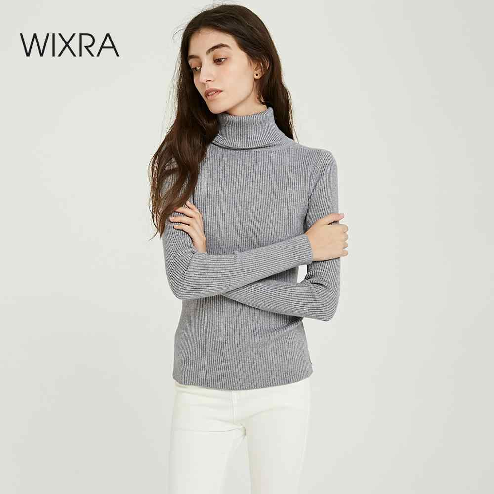 Wixra Solid Sweaters 2019 Autumn Winter Female Turtleneck Casual Slim Ladies Knitted Sweater Pullovers Women's Jumpers