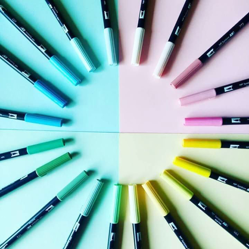 1pc TOMBOW AB-T Japan 96 colors double heads art brush pen marker profession water marker pen painting supplies t art блузка