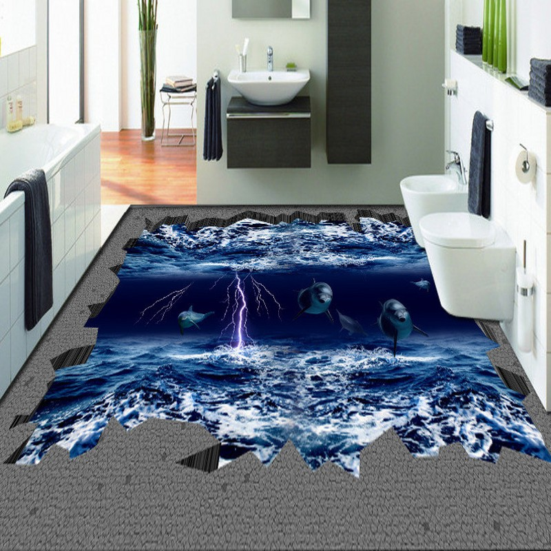 Free Shipping Creative Sea Dolphin Lightning Horror 3D Stereo Floor Background Wall bedroom living room bathroom flooring mural removable 3d stereo dolphin leaping out the sea design wall stickers