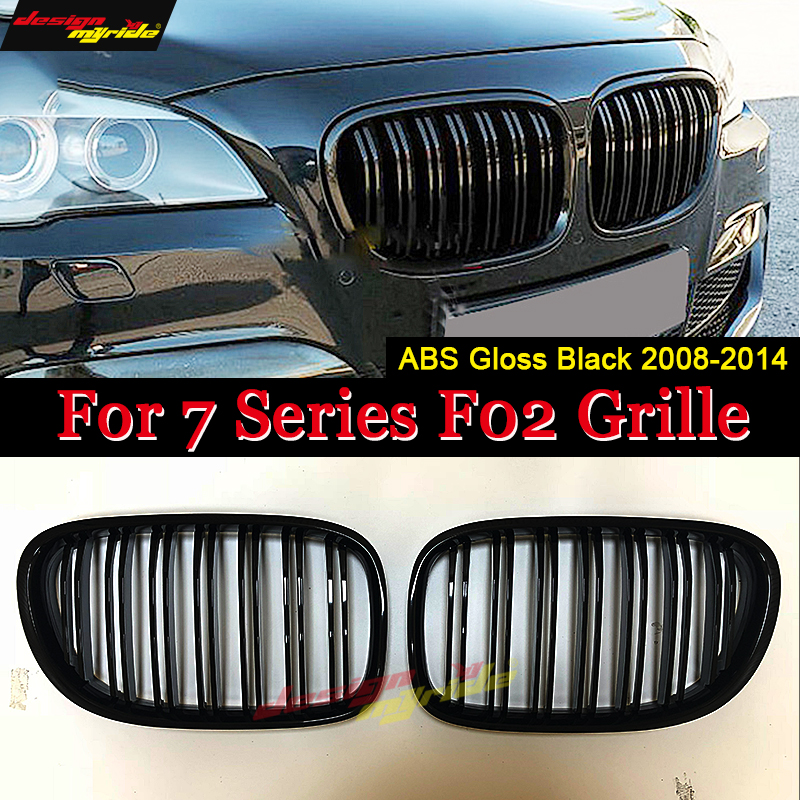 7 series F02 Grille m-style ABS noir brillant F02 740i 740Li 745i 750i 760i 760Li grilles de reins avant 2-lattes 1 paires 2008-2014