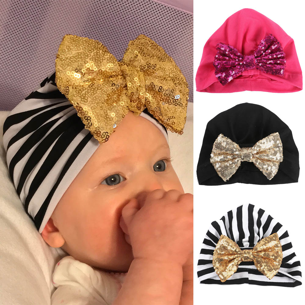 Baby Soft Cotton Hat Caps Glitter Sequins Big Bow   Beanies   Hats For Boys Girls Toddler Children Warm Cap Accessories