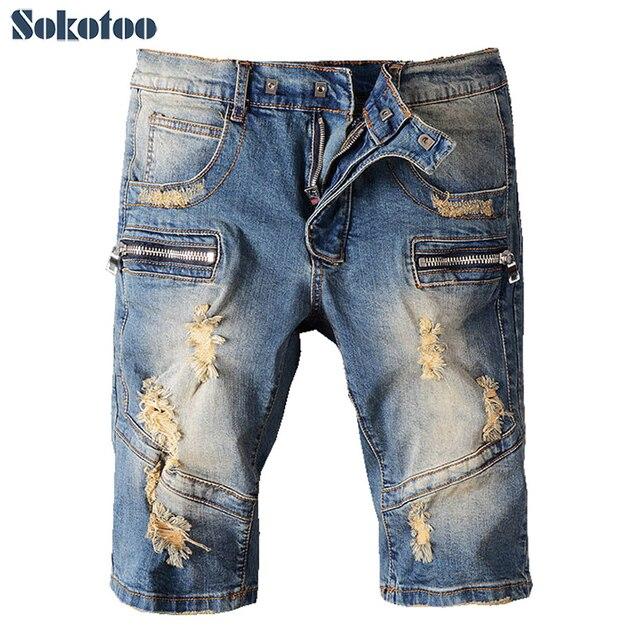 4885c21e7d40c Sokotoo Men s summer zipper hole ripped biker jeans Casual slim knee length  stretch denim shorts Capri