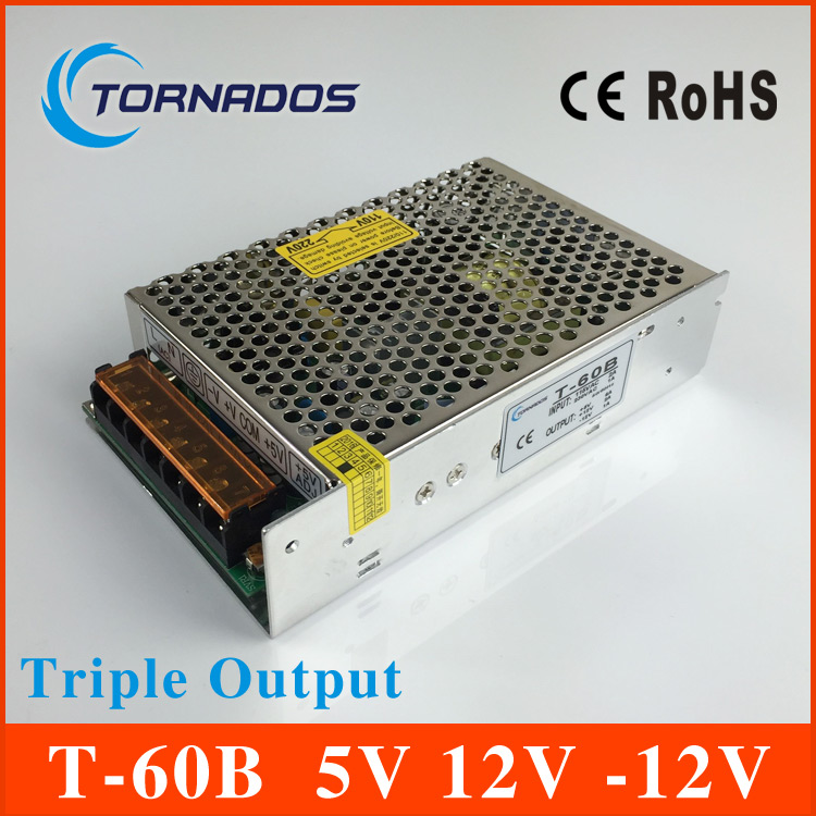 60W Triple Output power supply 5V 6A 12V 2A -12V 1A ac to dc power supply T-60B