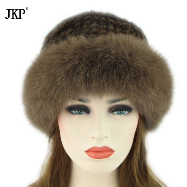 a56b6465bf4ed Aliexpress.com   Buy True Winter Fur Hat For Natural Mink Fur Women With Fox  Fur Tops Luxury Russian Fur Hat Brand New Fashion Solid Sun Knit Hats from  ...