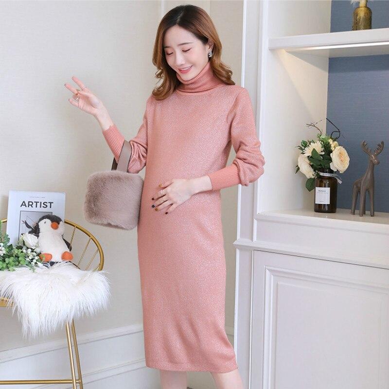220313d12adba Autumn Winter Thicken Knitted Pregnancy Clothes Dress Fashion Korean High Neck  Elegant Maternity Dresses for Pregnant Women 2019