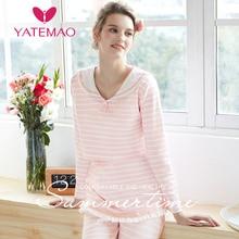 YATEMAO Maternity Nursing Pajama Pregnancy Clothes Sleepwear Long Sleeve Lounge Cotton Material Pink