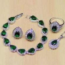 Фото - Water Drop Green Emerald White Topaz 925 Sterling Silver Jewelry Sets For Women Earrings/Pendant/Necklace/Rings/Bracelet T187 t187