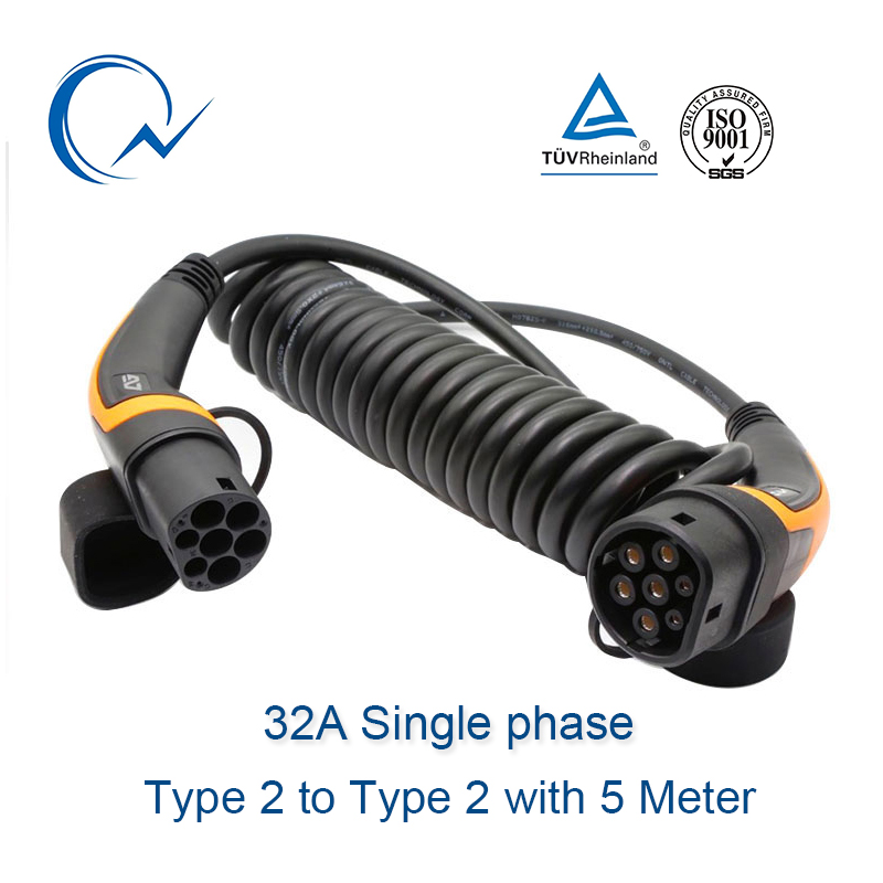 32A Single Phase EV Cable Type 2 To Type 2 IEC 62196 EV Charging Plug With 5 Meter Spiral Cable TUV/UL Mennekes 2 Connector