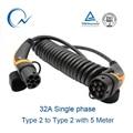 32A einphasig EV Kabel Typ 2 zu Typ 2 IEC 62196 EV Ladestecker Mit 5 Meter Spiral kabel TÜV/UL Mennekes 2 Stecker