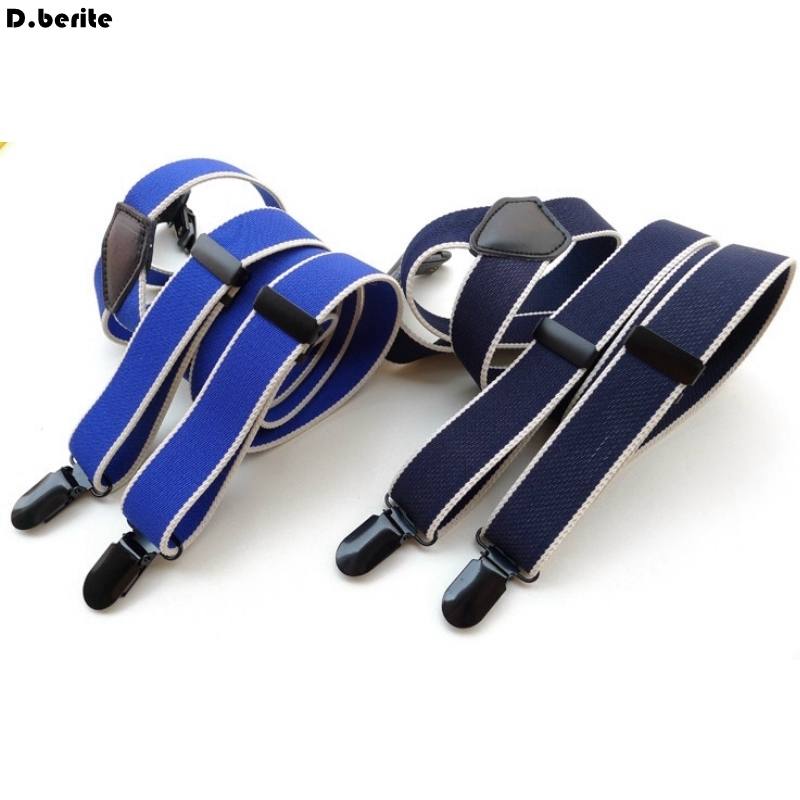 Men's Blue / Navy Blue Stripes Braces Unisex Adjustable Clip-on Suspenders Fashion Braces Adult Belt Strap For Wedding BDXJ2519