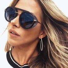 Hbk senhoras retro steampunk óculos de sol nova moda marca redonda designer vapor punk óculos de sol para homens mulher uv400 gafas de sol