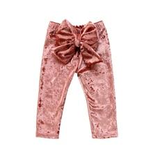 Модные штаны для девочек; Новинка года; брюки с большим бантом для маленьких девочек; детские брюки из плюша для девочек; леггинсы; одежда; костюм для девочек