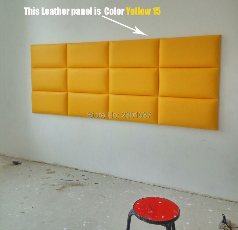 Brand New American Style Soft Yellow Leather Panel luxury decorative art TV Room sofa backgroumd wallpaper 12pcs 60*30*3.5CM