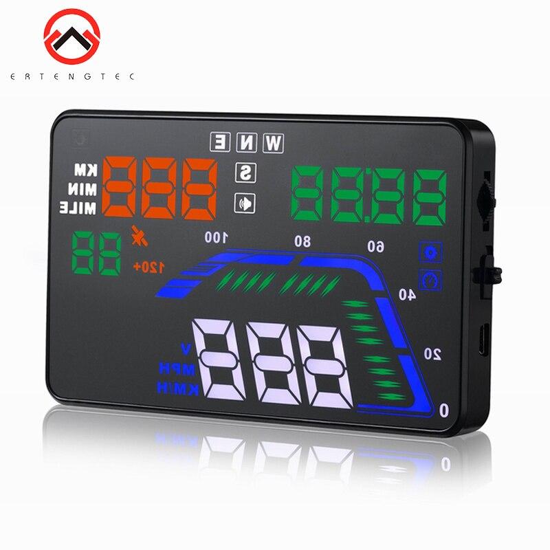 Affichage de tête de voiture 5.5 pouces Multi couleur Auto HUD GPS affichage voiture compteurs de vitesse avertissement de survitesse tableau de bord pare-brise projecteur