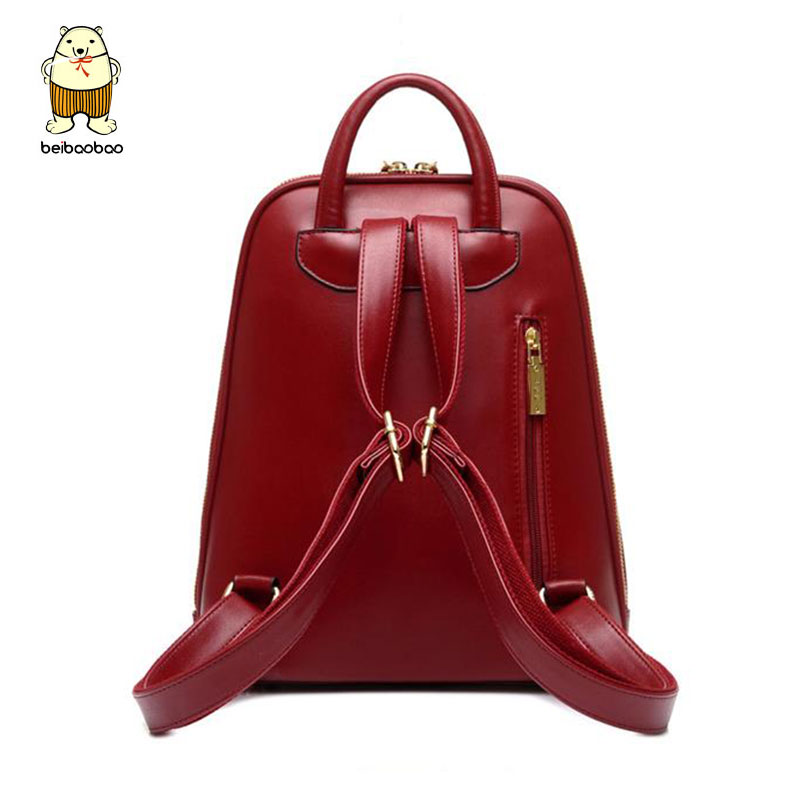 Beibaobao Women Backpack High Quality PU Leather Mochila Escolar School Bags  For Teenagers Girls Top handle Backpacks b007 b-in Backpacks from Luggage  ... 3a80c7cefb862