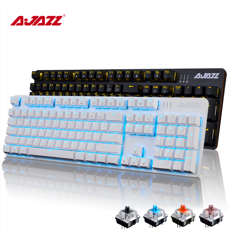 Ajazz RGB LED Backlit Multimedia Mechanical Keyboard Wired USB illuminated Gaming Keyboard Gamer Ergonomic For Laptop Computer professional 29 keys programmable mechanical usb wired one hand gaming keyboard rgb led backlit backlight for pro gamer