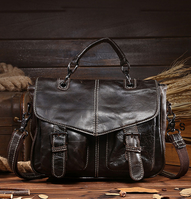 Men Vintage Oil Wax Genuine Leather Cowhide Handbag Briefcase Business Messenger Shoulder Bag Handbags High Quality New