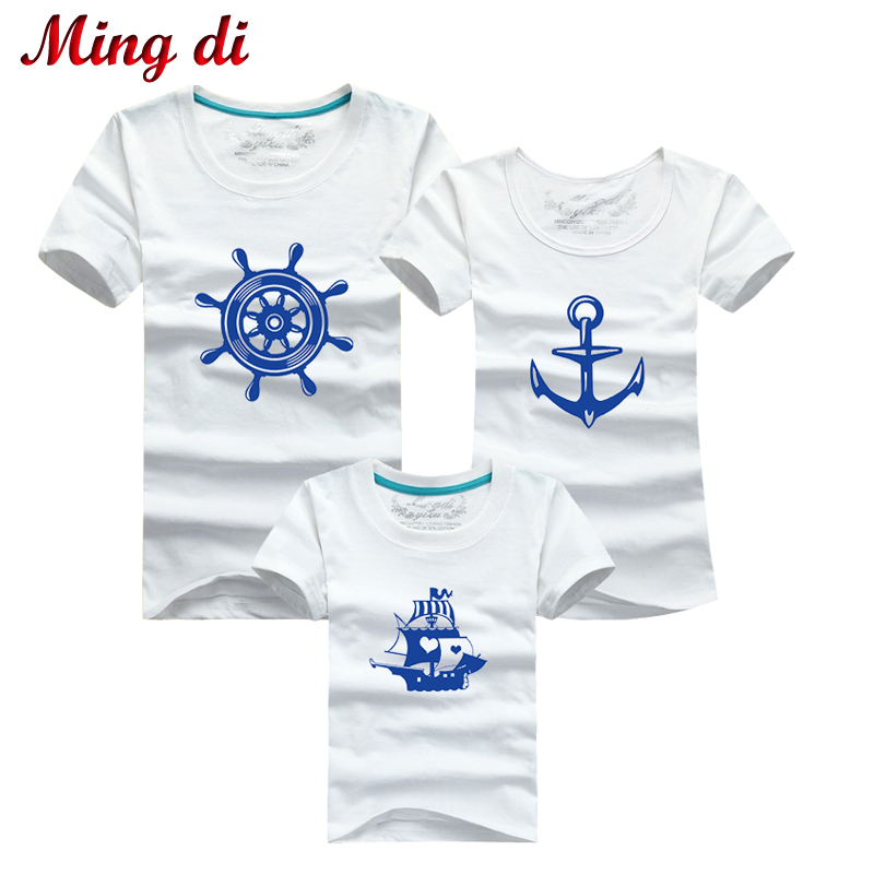 Ming Di Brand Family Look Family Mother & kids T-shirt Cotton Family Clothing Pirate Ship Short Sleeves T Shirts mother daughter