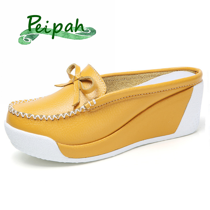 PEIPAH 2019 Summer Genuine Leather Women Platform Shoes Wedges Casual High Heels Shoes Women Creepers Female Pumps